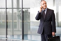 A businessman talking on a mobile phone holding a briefcase