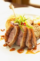 Close up of sliced duck dinner on plate