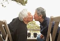 Senior Asian couple kissing outdoors