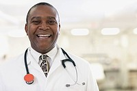 African American male doctor laughing