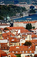 Prague Czech Republic, view on Mala Strana and the Vltava River