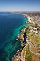 Aerial view of cliffs below King Edward Park, Newcastle, New South Wales, Australia