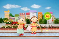 Illustration of grandmother and girl at the bus stop