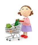 Illustration of housewife shopping