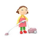 Illustration of housewife sweeping