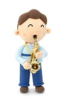 Illustration of a boy playing the saxophone