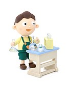 Illustration of a boy have a chemical experiment