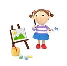 Illustration of a girl painting
