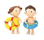 Illustration of boy and girl going to swimming