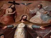 Trinity Oil Painting at Convento del Carmen, sur de Ciudad de México.