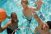 Three Man Playing Water Basketball