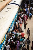 Crowds bording the train  Varkala, Kerala, India
