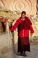 A monk spinning the prayer wheels in the morning at Lama Yuru Gompa  Lama Yuru, Ladakh, India