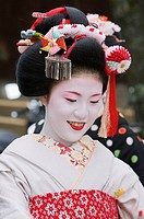 A geisha at the 'Setsubun', beginning of spring festival at Yasaka Shrine in Kyoto's Gion district
