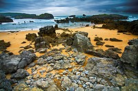 Rocky landscape beside the sea in Cantabria Noja