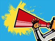 Close_up of man shouting into megaphone by sky
