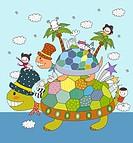 Children enjoying on tortoise back