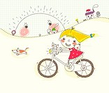 Girl playing on bicycle