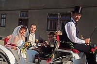 Young couple on their wedding day in a horse-drawn carriage. Wörlitz. Germany