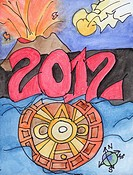 Conceptual illustration of 2012 and the Mayan calendar  Speculation of events that may or may not occur around 2012 - pole shift, floods, volcanic eru...