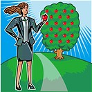 Businesswoman picking apples