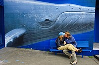 A loving couple and a whale mural Kaikoura, New Zealand