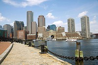 Harborwalk along Fan Pier and inner harbor in Boston, MA