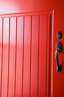 Detail bright red door and door handle