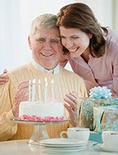 Senior man celebrating birthday