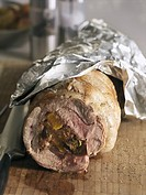 Lamb shoulder stuffed with dried fruit