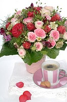 Precious bunch of roses on coffee table