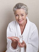 Senior lady with homeopathic crystal salts