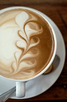 Cappuccino with decorative froth
