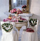 Feastful layed table for a wedding