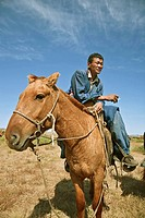 Mongolian horseman takes a smoke break, north central Mongolia No release available