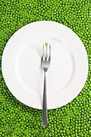 Fork and plate on a pea background