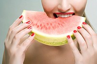 Woman eating watermelon (thumbnail)