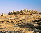 The ruins of Old Marib, ancient capital of the Sabean kingdom, south of modern Marib, Yemen. The Sabeans are believed to be the same nation as the Bib...