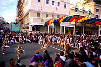 A Bermudan festival, with bands and performers on Front Street in Capital City, Hamilton.