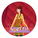 A Libra woman holding a tray of food