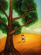 A woman exercising under a tree (thumbnail)