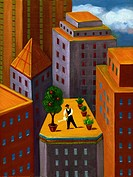 A man watering a garden on top of a high rise building in the city (thumbnail)