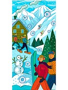 People at a ski resort skiing, snowboarding and snow shoeing (thumbnail)