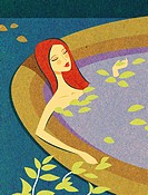 A woman relaxing in an aquatherapy bath (thumbnail)