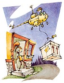 A helicopter dropping off a delivery at a womans house