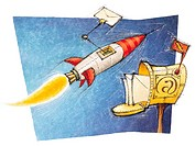 An illustration about e_mail with a rocket bringing mail to a postbox