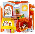 A collage illustration of Christmas carols,angels,singers,and the Nativity
