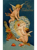 A vintage Valentines card with two cupids and a heart