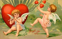 A vintage Forget Me Not Valentine card with cupid playing a flute and a cherub juggling hearts