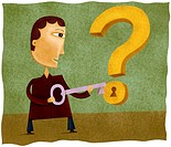 A man with a key to unlock a question mark
